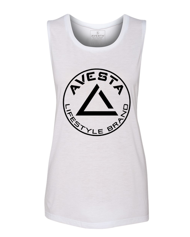 WOMEN'S ICON MUSCLE TEE - White