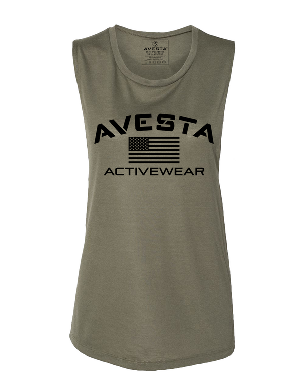WOMEN'S ACTIVEWEAR MUSCLE TEE - Army Green