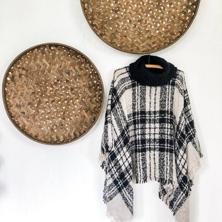Plaid Knit  Poncho