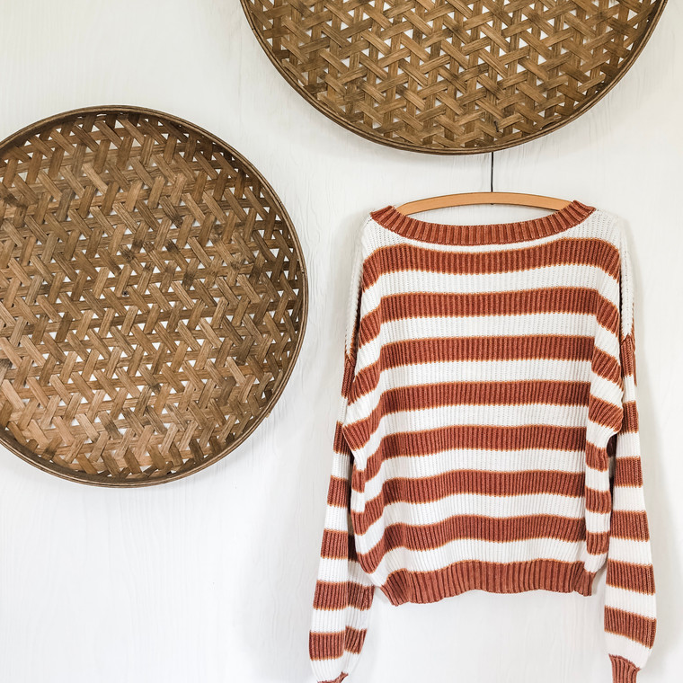 Rust Ribbed Oversized Top