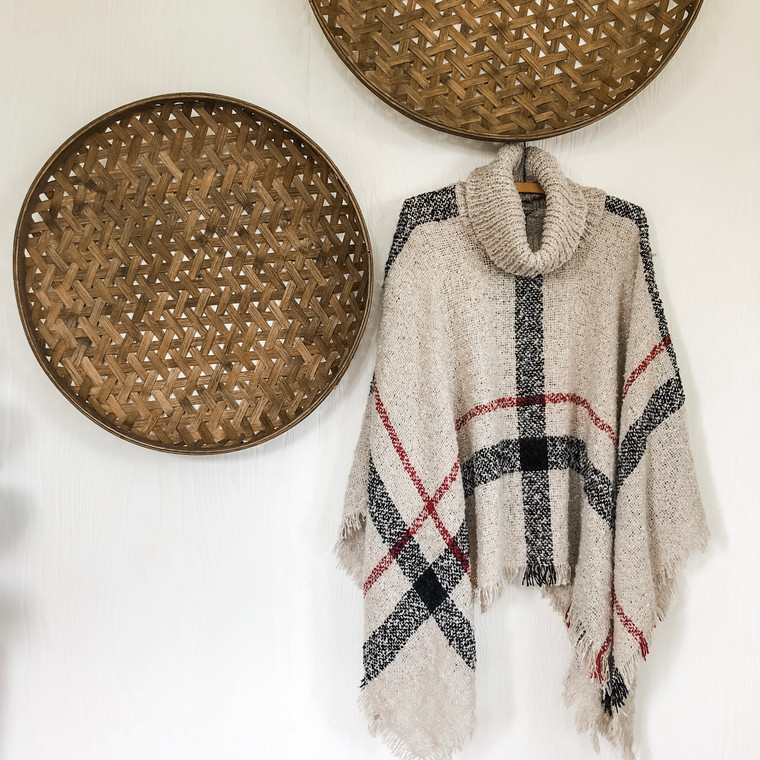 Cream Plaid Knit Poncho