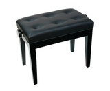 Piano Bench W/ Buttoned Seat - Black - Adjustable