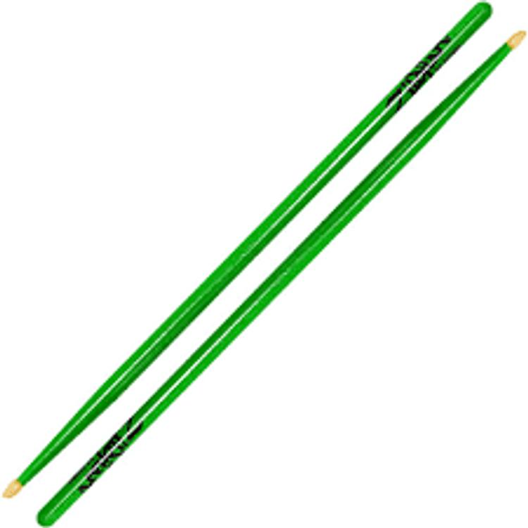 Zildjian  5A Wood Tip Drumsticks Acorn  Neon Green, Yellow or Pink
