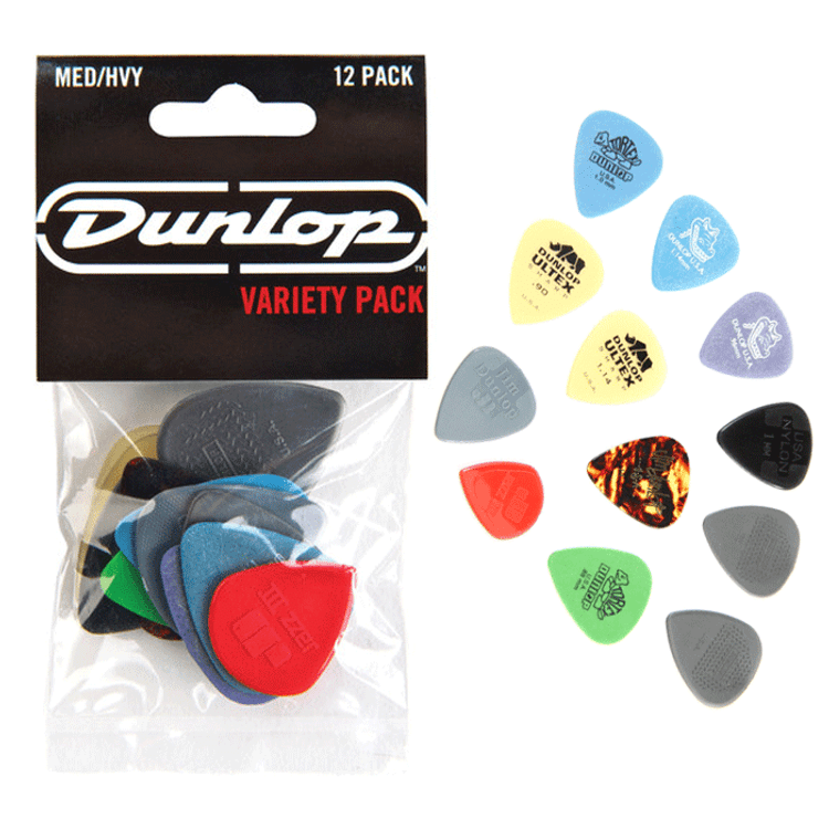 JIM DUNLOP - 12 Pick Variety Pack - Medium/Heavy Guitar Picks