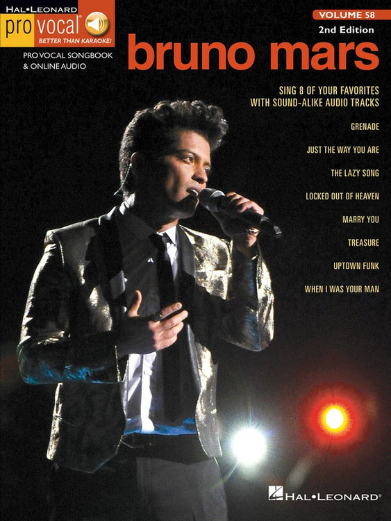 BRUNO MARS PRO VOCAL MEN V58 BK/OLA SHEET MUSIC BOOK