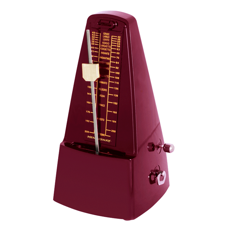 HEMINGWAY- Red Pyramid Style Metronome with Bell
