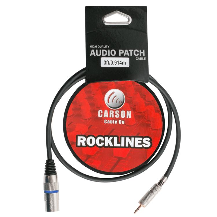CARSON ROCKLINES - Microphone headphone lead 3.5mm stereo jack plug  to XLR