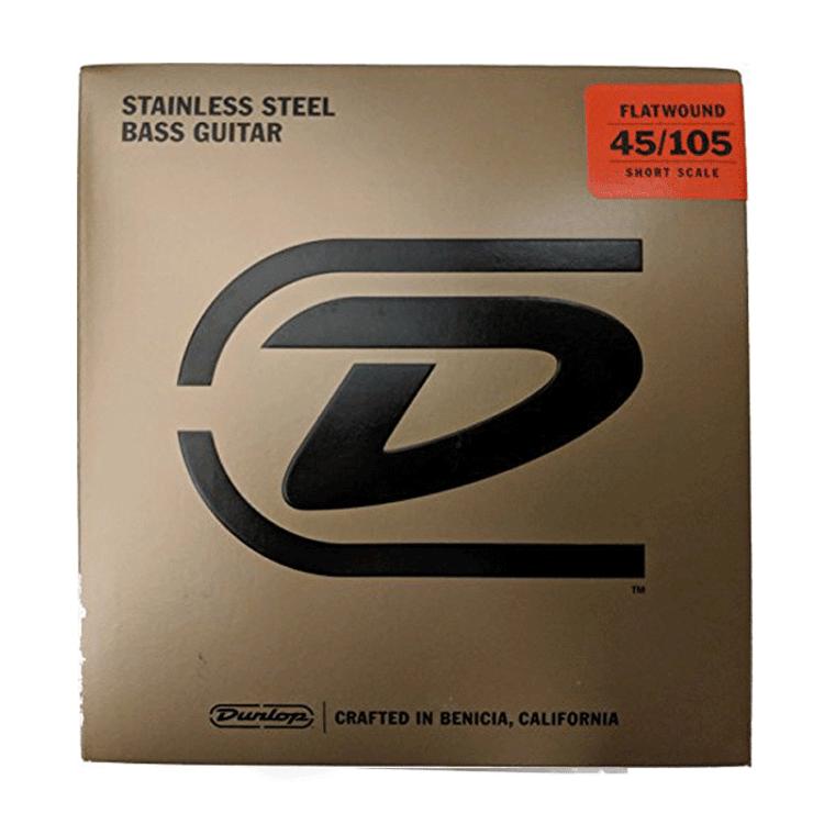 JIM DUNLOP - Stainless Steel Flat Wound Bass Guitar Set 45/105 Short Scale