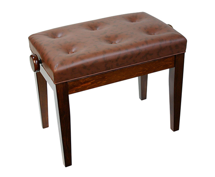Adjustable Piano Bench w/ Buttoned Seat - Walnut