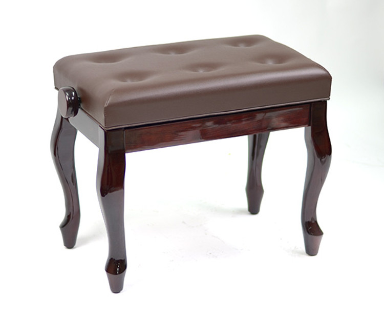 Adjustable Piano Bench w/ Buttoned Seat and Cabriolet Legs - Mahogany