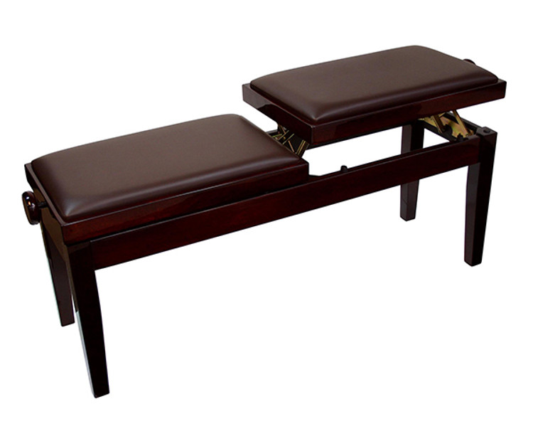 Dual Adjustable Duet Piano Bench - Mahogany