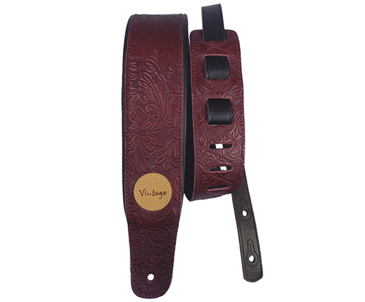 Basso Guitar Strap - Floral Emboss Wine Leather
