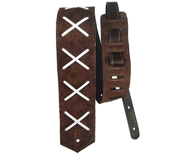 Basso Guitar Strap - Leather X  Pattern Dark Brown
