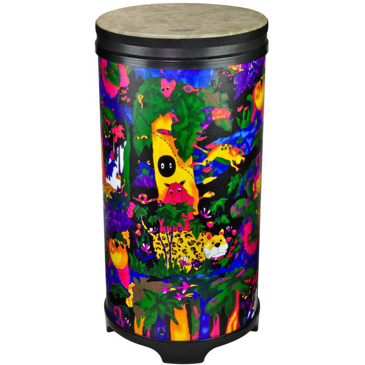 """12"""" Tubano with Fliptop® drum head. 24.5"""" high with moulded feet. Lightweight Acousticon® shell. Fliptop® pre-tuned drum head. Covered in bright and colourful fabric - rainforest finish."""