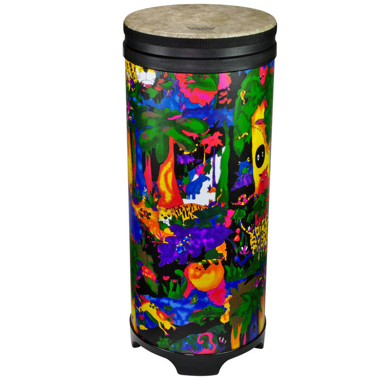 """10"""" Tubano with Fliptop® drum head. 24.5"""" high with moulded feet. Lightweight Acousticon® shell. Fliptop® pre-tuned drum head. Covered in bright and colourful fabric - rainforest finish."""
