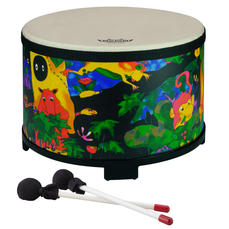 """10"""" floor or table tom with Comfort Sound Technology® pre-tuned drum head. 7.5"""" high with moulded feet. Mallets included. Covered in bright and colourful fabric - rainforest finish."""