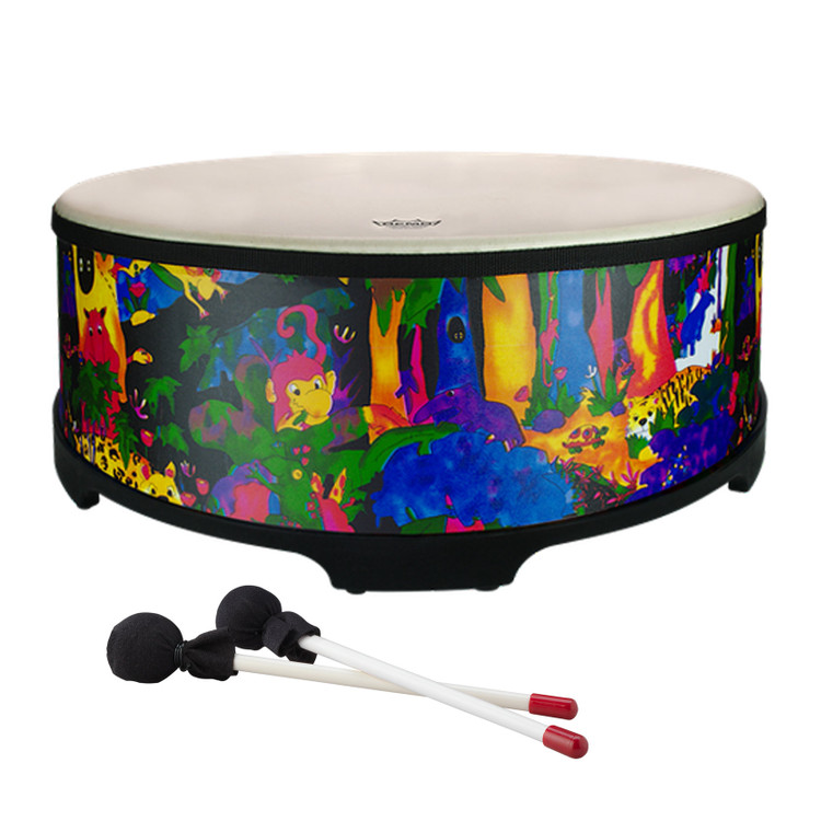 """18"""" Gathering drum with Comfort Sound Technology® pre-tuned drum head. 8"""" high with moulded feet. Mallets included. Covered in bright and colourful fabric - rainforest finish."""