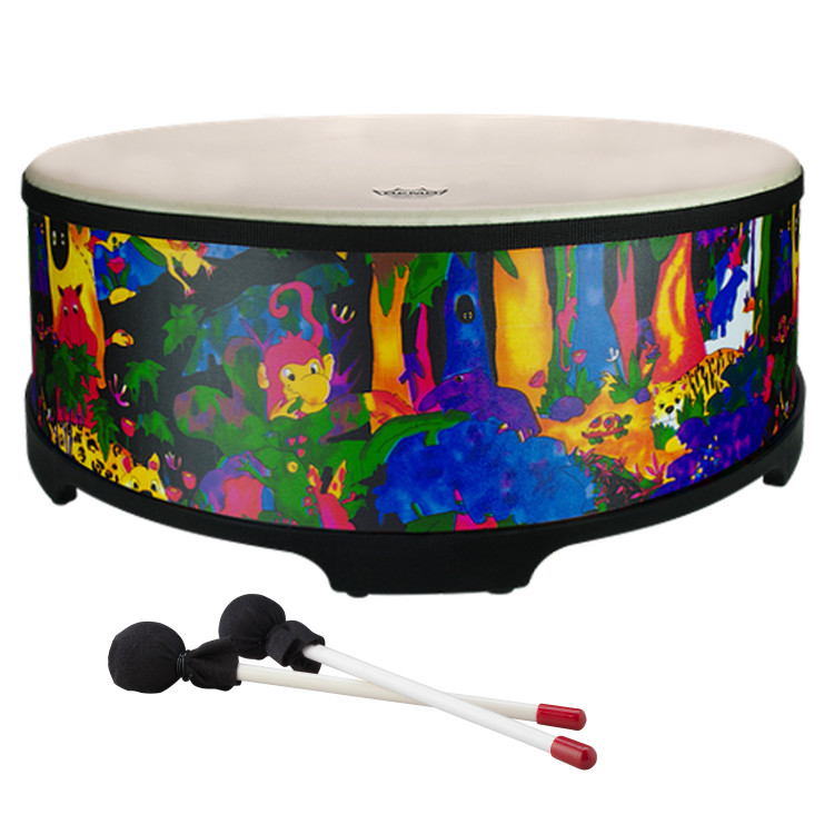 """22"""" Gathering drum with Comfort Sound Technology® pre-tuned drum head. 8"""" high with moulded feet. Mallets included. Covered in bright and colourful fabric - rainforest finish."""