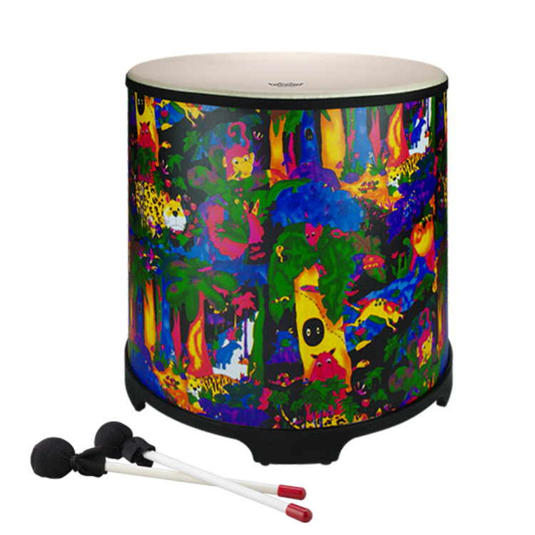 """18"""" Gathering drum with Comfort Sound Technology® pre-tuned drum head. 21"""" high with moulded feet. Mallets included. Covered in bright and colourful fabric - rainforest finish."""