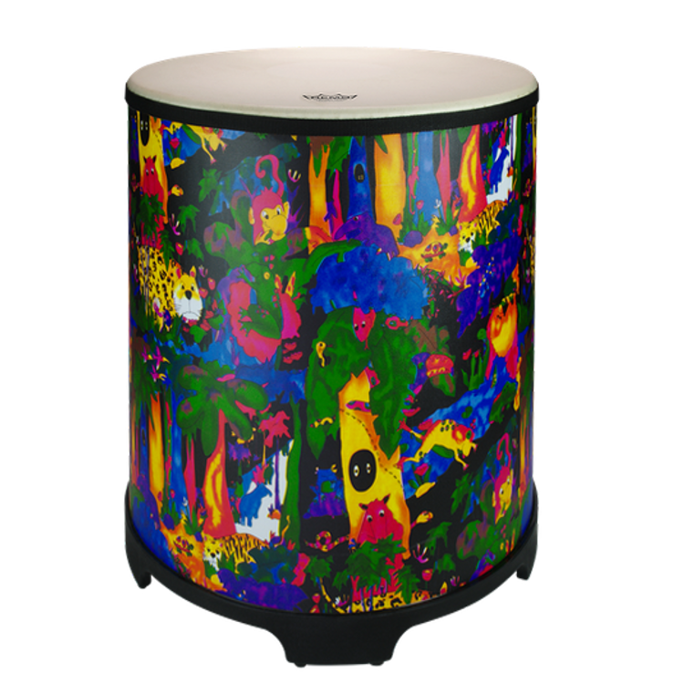 """22"""" Gathering drum with Comfort Sound Technology® pre-tuned drum head. 21"""" high with moulded feet. Mallets included. Covered in bright and colourful fabric - rainforest finish."""