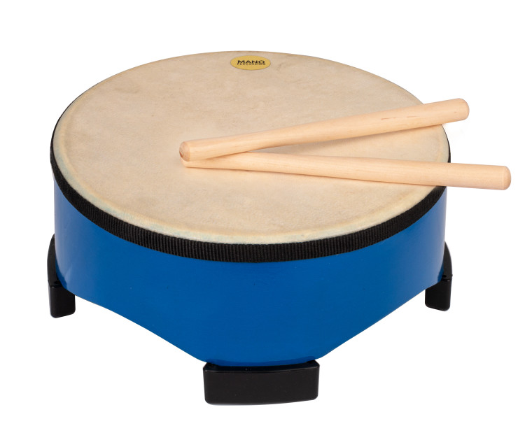 Painted wooden shell with 4 large rubber feet. Natural hide pre-tuned head. Pair of wooden beaters included. Blue finish.