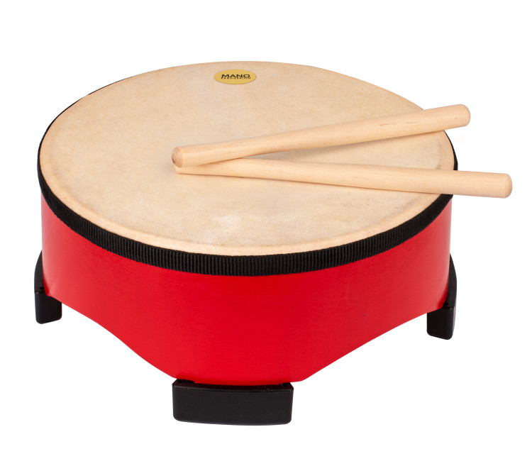 Painted wooden shell with 4 large rubber feet. Natural hide pre-tuned head. Pair of wooden beaters included. Red finish.