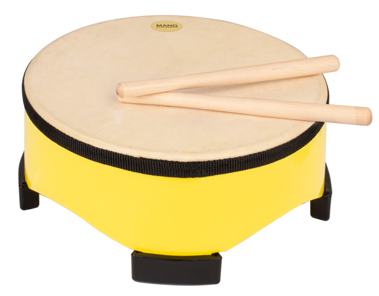 Painted wooden shell with 4 large rubber feet. Natural hide pre-tuned head. Pair of wooden beaters included. Yellow finish.