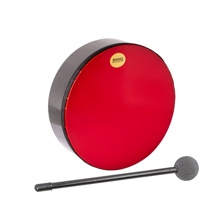 """Red plastic pre-tuned head. Wooden shell. 2½"""" deep. Mallet included. Black finish."""
