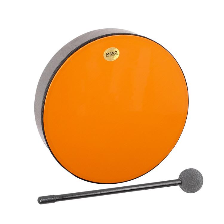 "Orange plastic pre-tuned head. Wooden shell. 2½"" deep. Mallet included. Black finish."