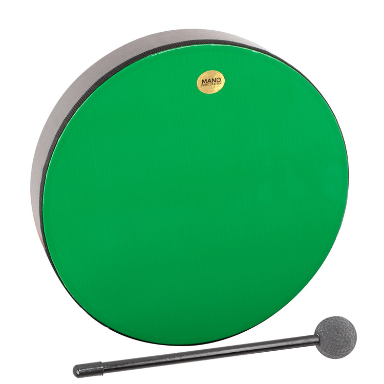 """Green plastic pre-tuned head. Wooden shell. 2½"""" deep. Mallet included. Black finish."""