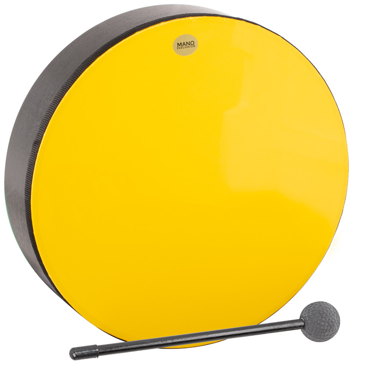 """Yellow plastic pre-tuned head. Wooden shell. 2½"""" deep. Mallet included. Black finish."""
