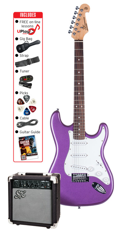 "SX metallic purple guitar. Solid basswood body. Select Canadian maple neck with 2 way truss rod. Rockwood fingerboard. 22 frets. 3 single coil pickups. 1 volume and 2 tone controls. 5 way switch. 3 ply white scratchplate. Chrome diecast machine heads and vintage tremolo bridge. Note: This guitar is not available separately. SX AGA1065 10 watt amplifier with 6½"" speaker Plus: SX clip-on tuner, 7mm padded gig bag, strap, picks, lead and UPlay Guitar Guide with free online lessons. 2 full colour display boxes. Metallic purple."