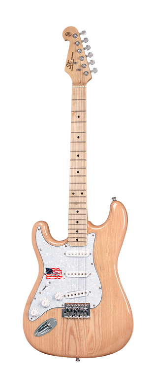 "Solid American white swamp ash body. 3 bolt maple neck. Cream bound maple fingerboard with black dot inlays. 21 frets. 25½"" scale. 3 single coil pickups. 1 volume and 2 tone controls. 5 way switch. White pickup covers and knobs. 3 ply white pearloid scratchplate. Chrome diecast machine heads. Vintage tremolo. D'Addario strings. Supplied with UPlay Guitar Guide and free online lessons. Natural Gloss"