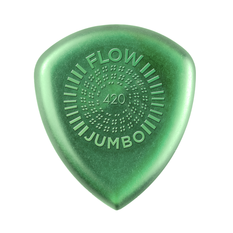 We know how to relax and go with the flow. This special gauge embodies that tendency by providing a smoother, more comfortable experience. Like other Flow Picks, it has a wide angle, sharp tip, uniform bevel, and low-profile grip—but this pick's extra heft makes it even more ergonomic, play even faster, and project even louder with a smoother high end. 4.2mm.