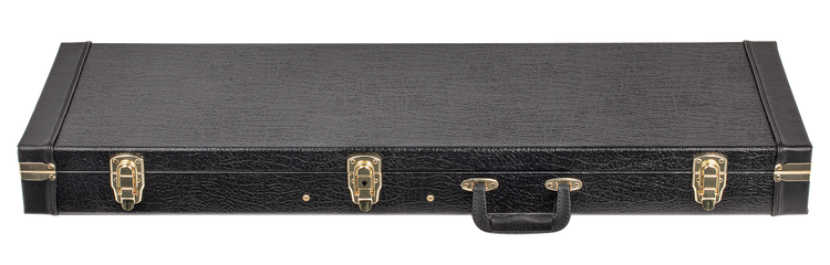 Plywood covered in black vinyl. Stitched ends. Plush lined. Large accessory compartment. 3 deluxe drawbolt gold latches with lock. Suits right and left-hand guitars. Suits SX electric guitars VES34's and SE1SK34's.