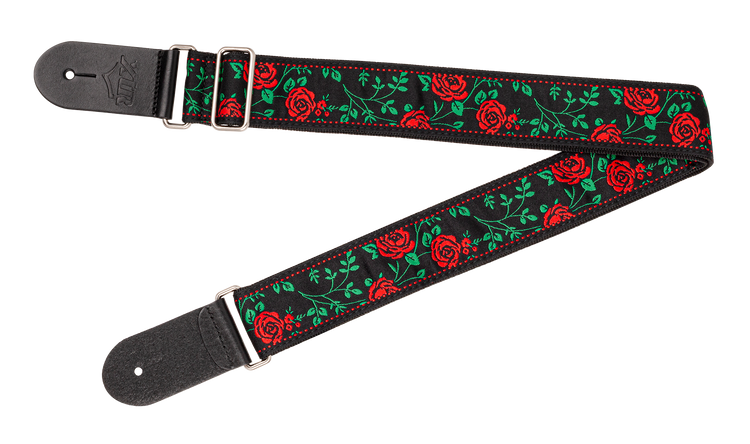 Woven jacquard poly cotton strap with comfortable, two layer black poly backing. Premium black leather ends, smooth chrome slider adjustment. XTR display hanger. Vintage Rose and Thorns pattern.