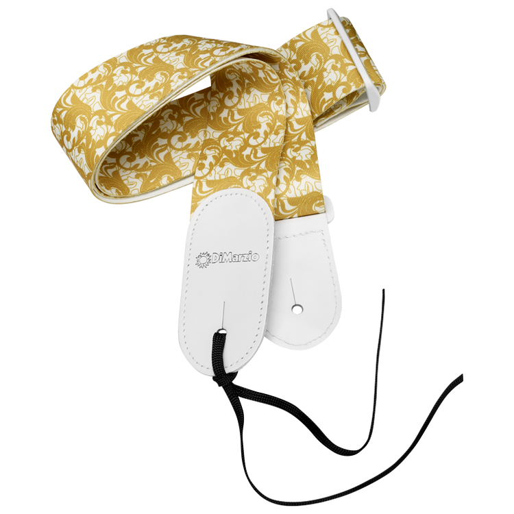 "High quality printed micro-fibre featuring a gold baroque swirling leaf pattern over a white background. White stitched leather ends. Slide adjustable from 32"" to 56½"". Leather tie-cord included. UtoPIA White and Gold."