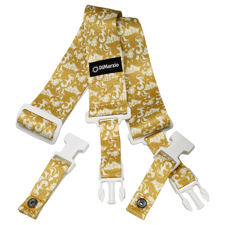"""This strap, the industry standard for strength, security and quality features a gold baroque swirling leaf pattern over a white background. Slide adjustable from 43½"""" to 63½"""". UtoPIA White and Gold."""