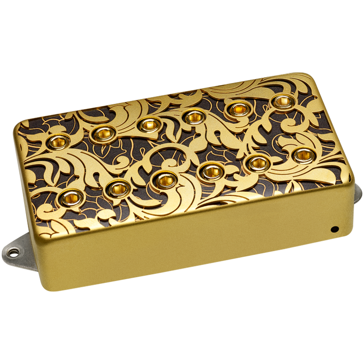 """Designed for Steve Vai's Signature PIA guitar, featuring a custom laser cut baroque style cover over a black and gold patterned layer. Designed to provide a big, bold low end and thick top end. """"F"""" spacing. Output: 411mv. Gold."""