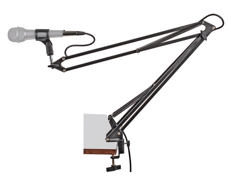 "Perfect for recording and podcasting. Easy clamp base attaches to work surfaces up to 46mm thick. Spring loaded arms with 100cm reach and 360 degree swivel action. Integrated 10ft XLR (F) to XLR (M) cable keeps workspace tidy. Includes removable mic.clip with 3/8"" thread. Full colour display box. Black."