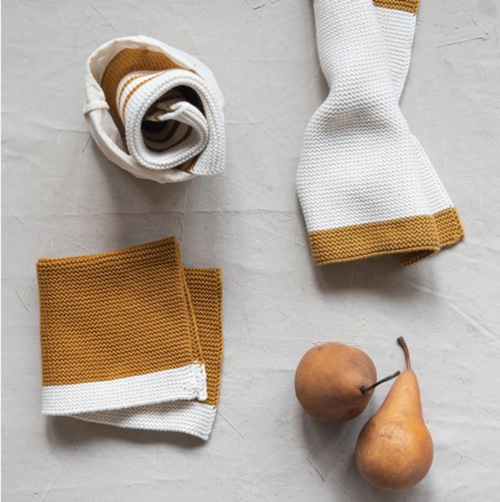Mustard Cotton Knit Dish Cloth s/3