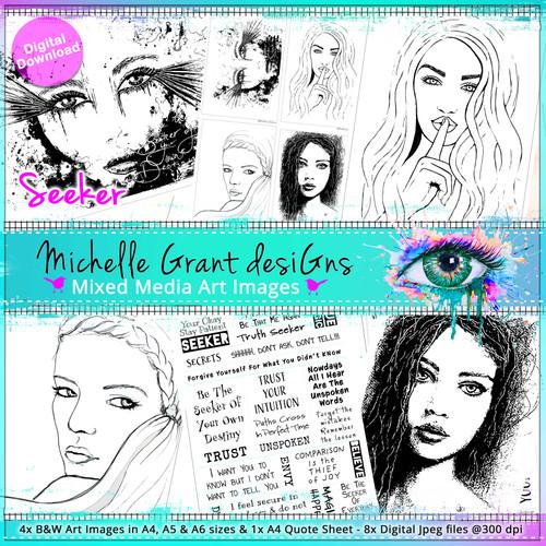 3- SEEKER - Art Image Pack by Michelle Grant desiGns 4x B&W & Art Images in A4, A5 & A6 sizes & 1x A4 Quote Sheet - 8x Digital Jpeg files @300 dpi