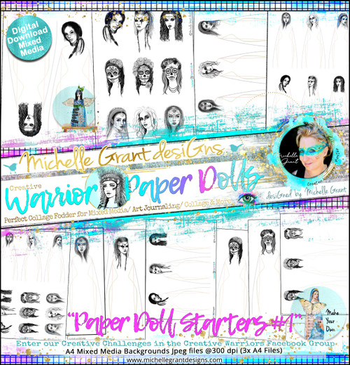 """""""PAPER DOLL STARTERS #1"""" Warrior Paper Doll Pack designed by Michelle Grant  FULL COLLECTION PACK (10 files)"""
