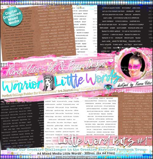 LITTLE WORD BITS#1 - Warrior Little Words Pack by Karen Yates Digital Jpeg files @300 dpi   FULL PACK - (6 Files)