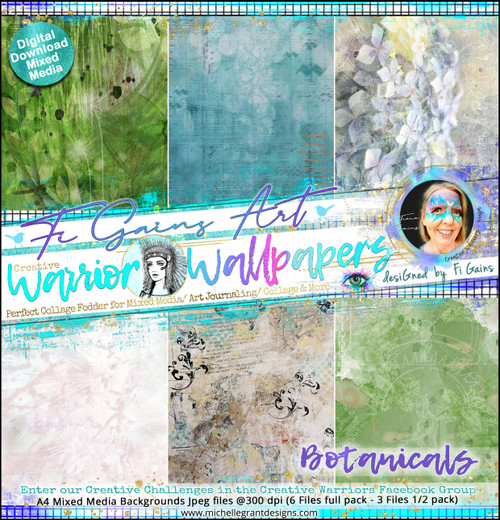BOTANICALS - Warrior Wallpapers - by Fi Gains Digital Mixed Media Backgrounds- A4 Digital Jpeg files @300 dpi   FULL PACK - (6 Files) HALF PACK A&B - (3 Files)