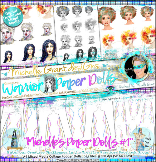 """""""MICHELLE's PAPER DOLLS #1"""" Warrior Paper Doll Pack designed by Michelle Grant  COLLECTION PACK (5 files)"""