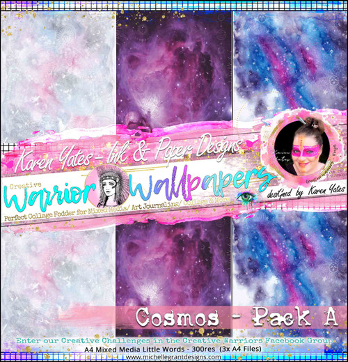COSMOS PACK A - Warrior Wallpaper Pack by Karen Yates A4 Pattern Papers - 6x Digital Jpeg files @300 dpi   FULL PACK - (6 Files) HALF PACK A&B - (3 Files)