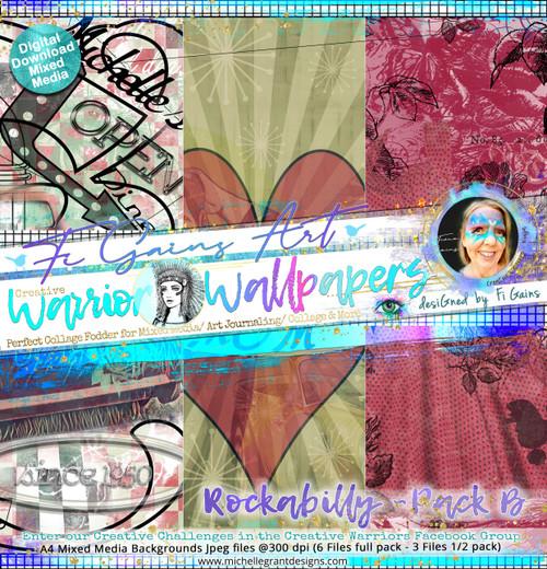 ROCKABILLY - Warrior Wallpaper Pack B by Fi Gains Digital Mixed Media Backgrounds- A4 Digital Jpeg files @300 dpi   FULL PACK - (6 Files) HALF PACK A&B - (3 Files)