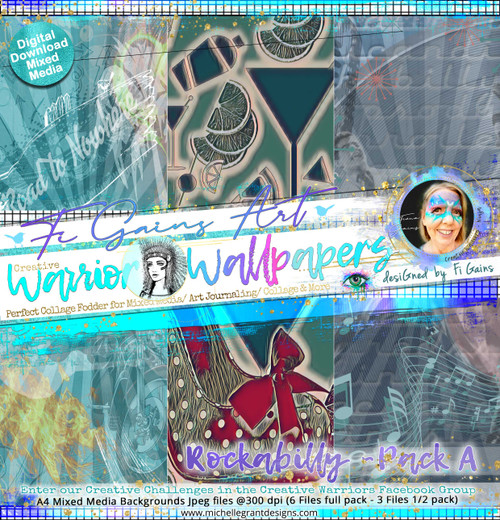 ROCKABILLY - Warrior Wallpaper Pack A by Fi Gains Digital Mixed Media Backgrounds- A4 Digital Jpeg files @300 dpi   FULL PACK - (6 Files) HALF PACK A&B - (3 Files)