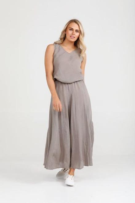 100% Linen Tilly Skirt - Driftwood